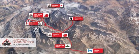 Aconcagua Mapa Normal Route Extended