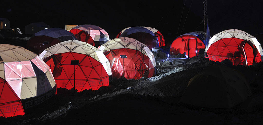 Base camps at night